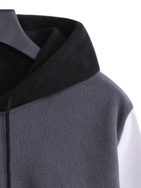 fancy Fleece Color Blocking Panel Front Pocket Hoodie - BLACK 2XL Mobile