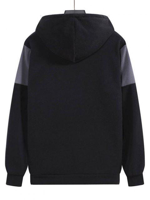 outfits Fleece Color Blocking Panel Front Pocket Hoodie - BLACK L Mobile