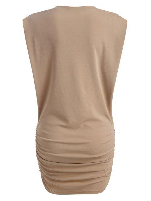 sale Gathered Side Padded Shoulder Bodycon Tank Dress - LIGHT COFFEE S Mobile