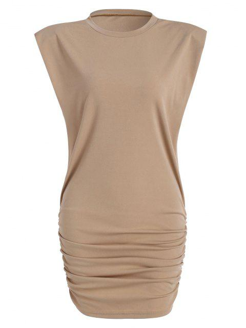 fashion Gathered Side Padded Shoulder Bodycon Tank Dress - LIGHT COFFEE M Mobile