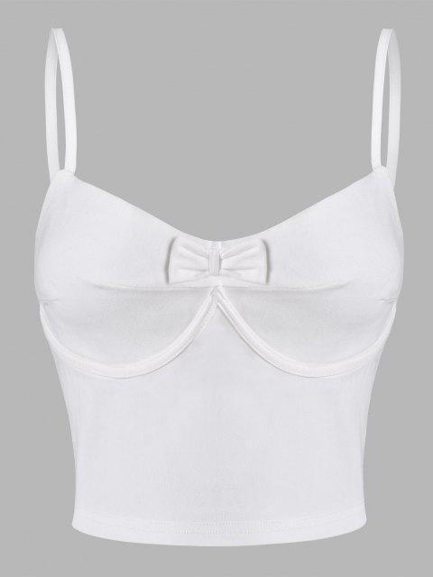 latest Cropped Bowknot Bustier Cami Top - MILK WHITE S Mobile