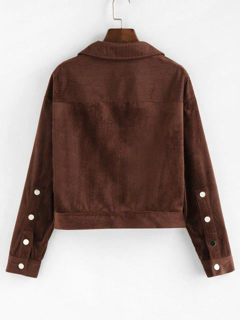 best ZAFUL Drop Shoulder Corduroy Pocket Jacket - DEEP COFFEE L Mobile