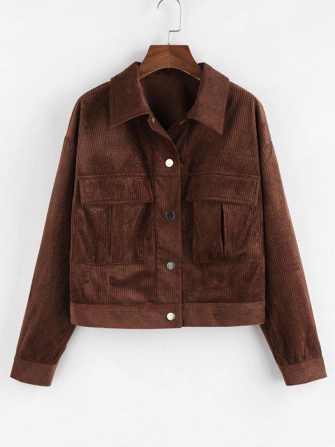 ZAFUL Drop Shoulder Corduroy Pocket Jacket - القهوة العميقة S Mobile