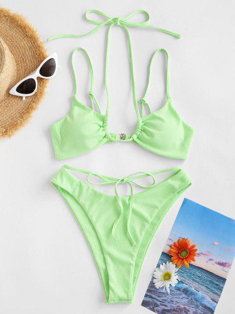 outfit ZAFUL Ribbed Strappy Brazilian Bikini Swimwear - GREEN S Mobile