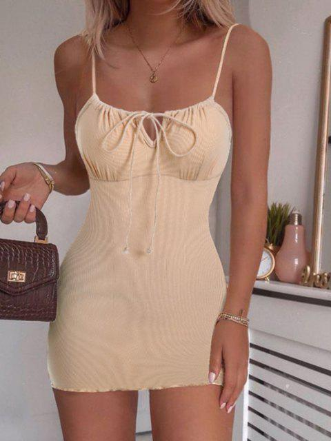 hot ZAFUL Ribbed Lettuce Tie Cami Mini Dress - BLANCHED ALMOND L Mobile