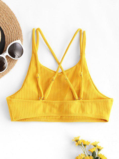 ZAFUL Rib-knit Crisscross Back Cropped Bikini Top - الأصفر S Mobile