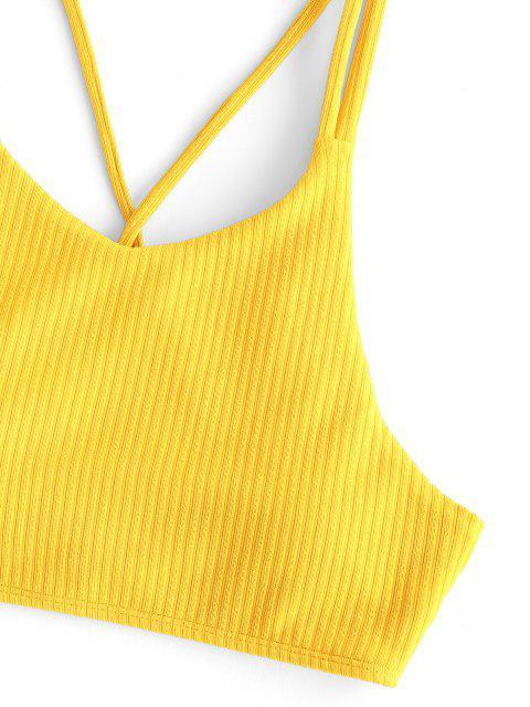 Bikini Top Corto di ZAFUL a Costine con Lacci Incrociati Indietro - Giallo XL Mobile