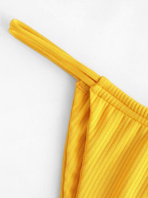trendy ZAFUL Rib-knit Dual Straps Tanga Bikini Swimwear - YELLOW S Mobile