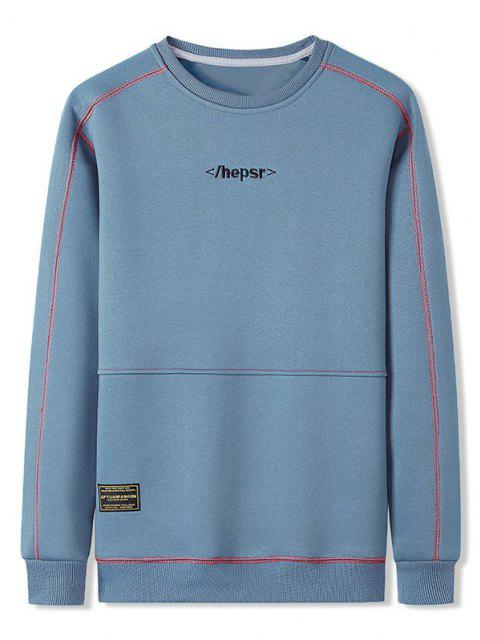 shop Contrast Stitching Crew Neck Lounge Sweatshirt - DAY SKY BLUE XL Mobile