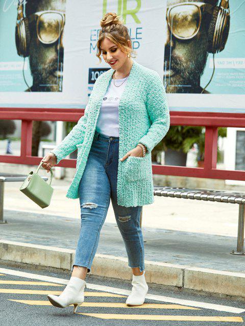 hot Plus Size Pockets Boucle Knit Cardigan - LIGHT GREEN L Mobile