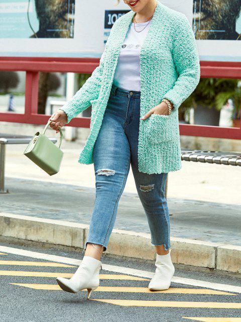 Plus Size Pockets Boucle Knit Cardigan - Hellgrün 1X Mobile