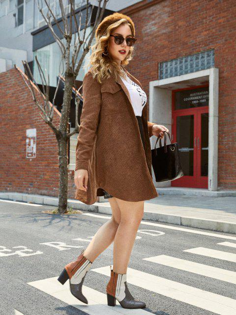 lady Plus Size Front Pockets Corduroy Coat - OAK BROWN L Mobile