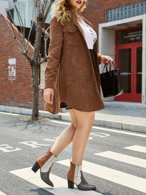 Plus Size Front Pockets Corduroy Coat - اوك براون 2X Mobile