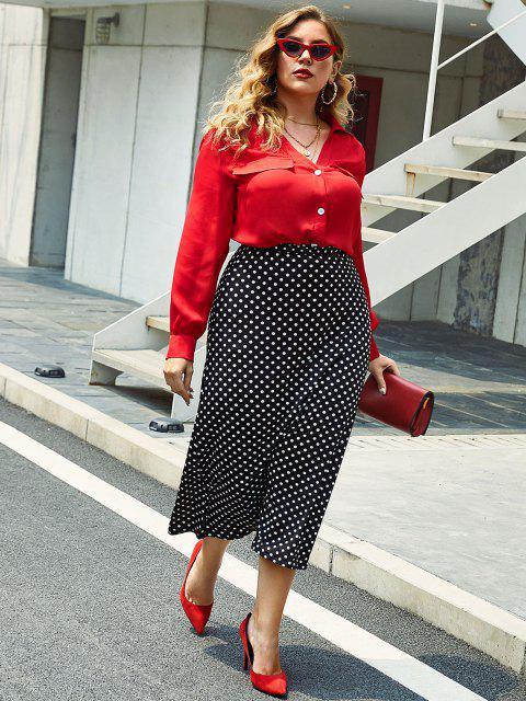 Más el tamaño de cuello en V con pliegues botón frontal de la blusa - Rojo 4X Mobile