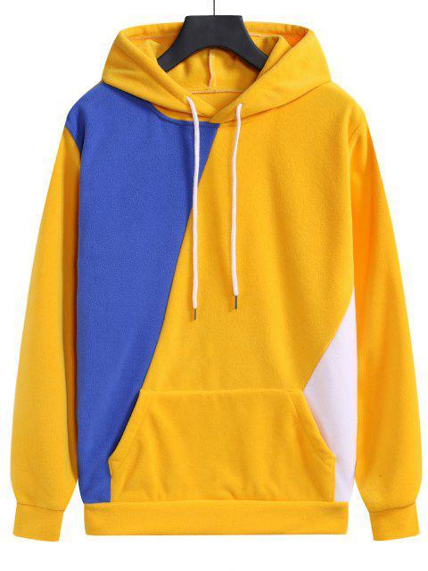 trendy Color Blocking Fleece Kangaroo Pocket Hoodie - RUBBER DUCKY YELLOW L Mobile