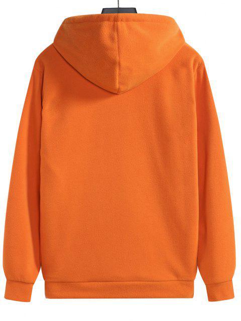 Farbblock Vlies Känguru Tasche Hoodie - Papaya Orange M Mobile