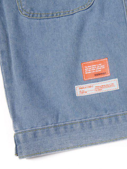 Blouson en Jean Extrêmement Déchiré avec Motif de Lettre et Nombril Exposé - Bleu clair XL Mobile