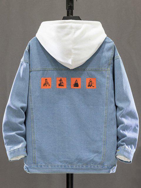 Fictional Figure Letter Pattern Denim Jacket - أزرق فاتح XL Mobile