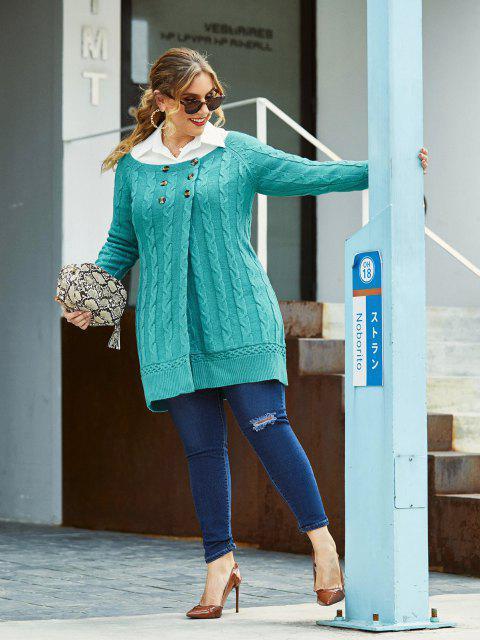 buy Plus Size Cable Knit Mock Button Long Sweater - LIGHT BLUE 1X Mobile