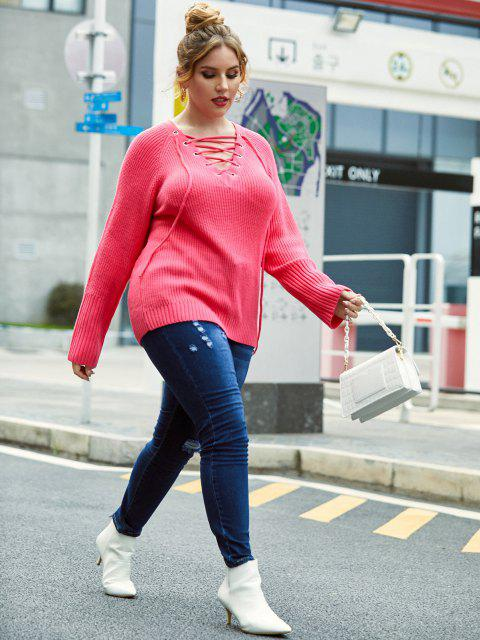 women Plus Size Grommet Lace-up Raglan Sleeve Sweater - LIGHT PINK 5X Mobile