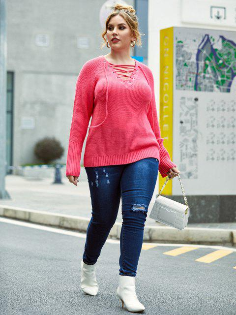 Plus Size Grommet Lace-up Raglan Sleeve Sweater - Hell-Pink 5X Mobile