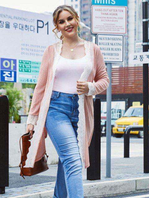 womens Plus Size Crochet Insert Draped Knit Tunic Cardigan - PINK 4X Mobile