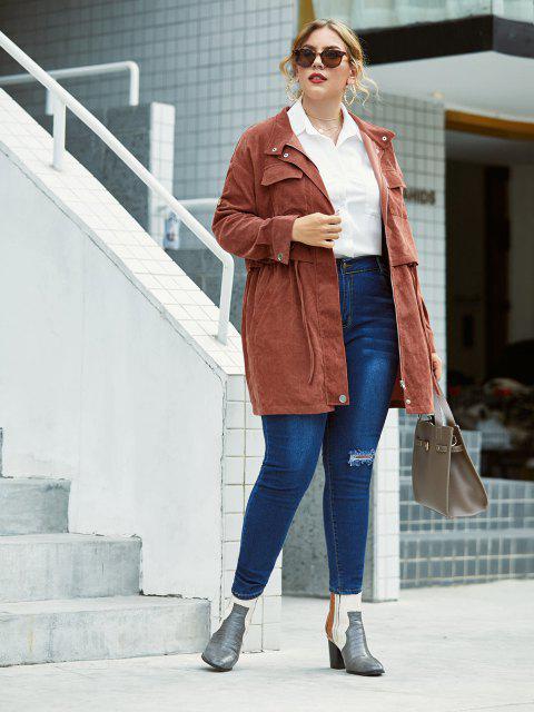 Plus Size Corduroy Flap Pocket Zip Roll Up Sleeve Coat - Kafee 5X Mobile