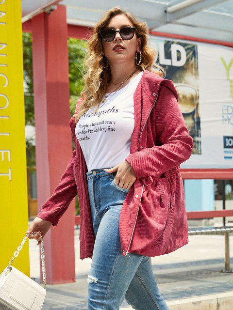 buy Plus Size Corduroy Hooded Zip Drawstring Waist Jacket - RED WINE L Mobile