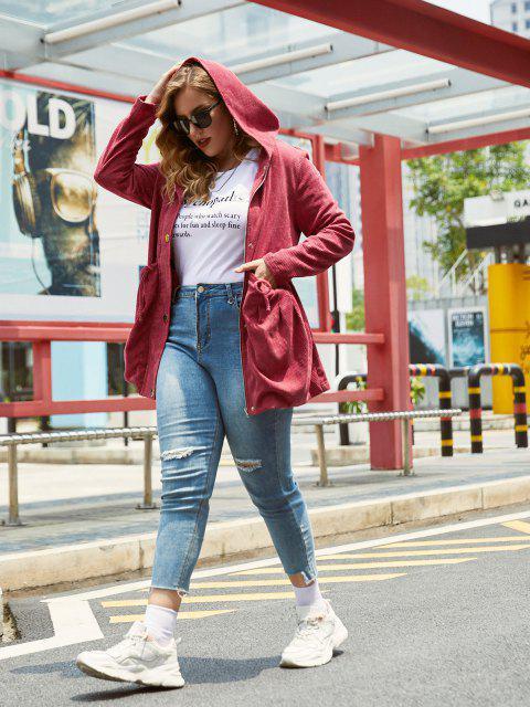 Más el tamaño de pana capucha y cremallera lazo de la cintura de la chaqueta - Vino Tinto 3X Mobile