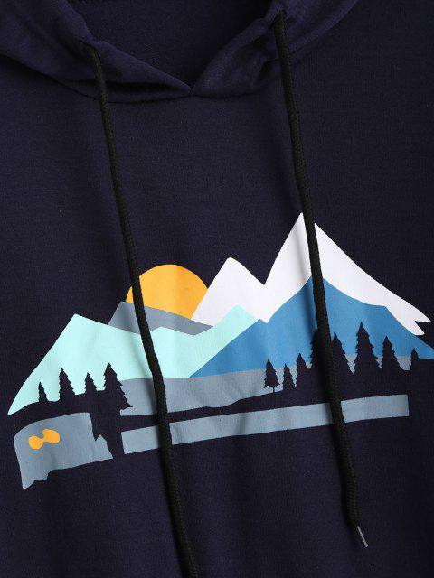 trendy Sunset Peak Print Front Pocket Hoodie - DEEP BLUE M Mobile