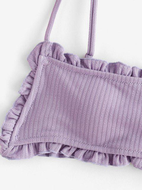 ZAFUL Kopfsalat Geripptes Bikini-Top mit Rüschen - Helles Lila M Mobile