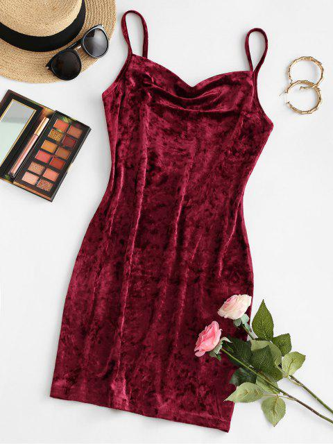 outfits ZAFUL Cowl Front Velvet Mini Dress - RED WINE M Mobile