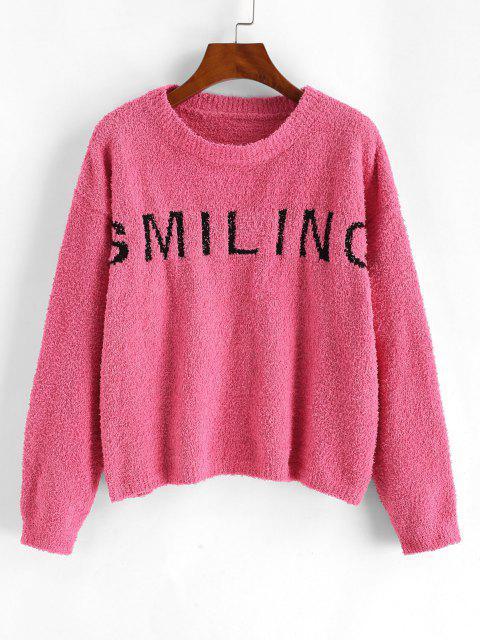 Pullover mit Hängender Schulter und Buchstabe Muster - Hell-Pink Eine Größe Mobile