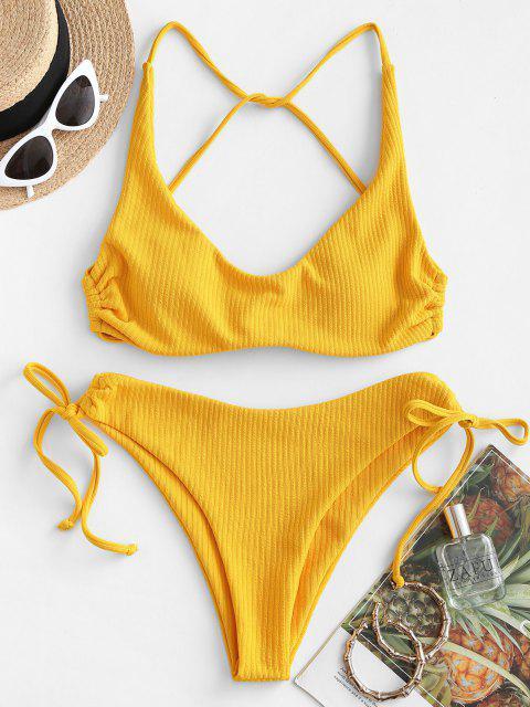 shops ZAFUL Ribbed High Cut Cinched Bikini Swimwear - YELLOW L Mobile
