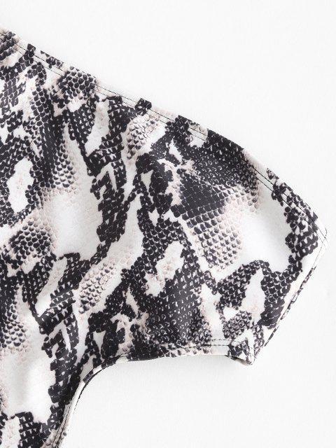 ZAFUL Maillot de Bain Serpent Imprimé à Une Epaule Une-Pièce - Noir S Mobile