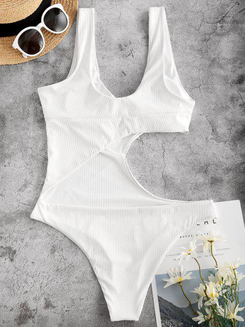 online ZAFUL Solid Ribbed Cut Out One-piece Swimsuit - WHITE S Mobile