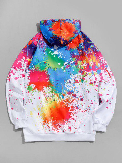 women Paint Splatter Print Kangaroo Pocket Hoodie - WHITE 3XL Mobile