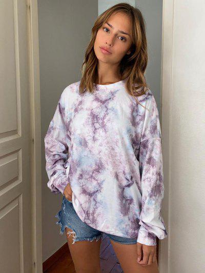 Lou-Ann Vecchia X ZAFUL Oversized Marble Drop Shoulder Sweatshirt - Light Purple S