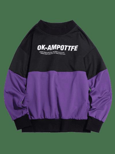 Letter Graphic Colorblock Drop Shoulder Sweatshirt