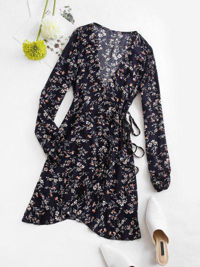 Flower Print Ruffle Wrap Dress - Deep Blue S