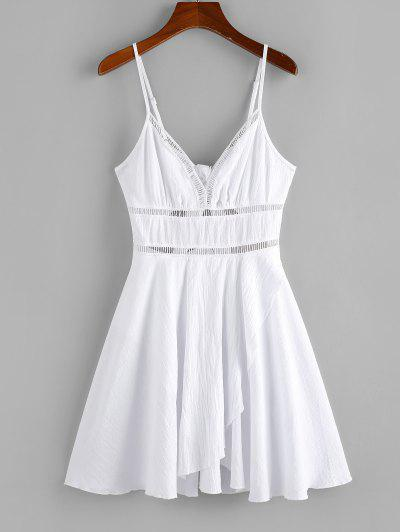 ZAFUL Crochet Panel Tulip Hem Cami Dress - White S