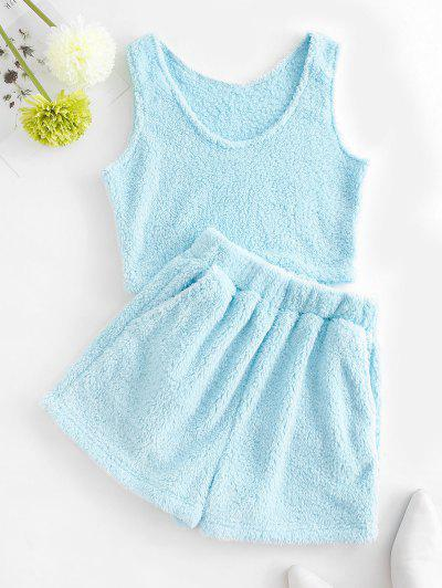 Plush Pocket Sleeveless Shorts Set - Light Blue M