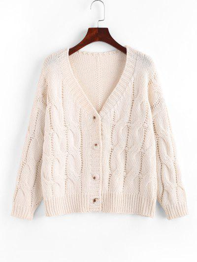Loose Button Up Cable Knit Cardigan - White