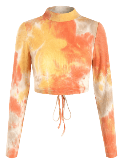 ZAFUL Tie Dye Ribbed Open Back Crop T-shirt