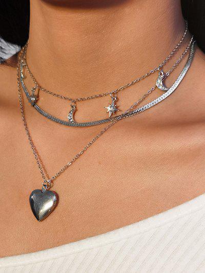 3Pcs Conjunto De Colar De Coração De Diamante Artificial - Prata