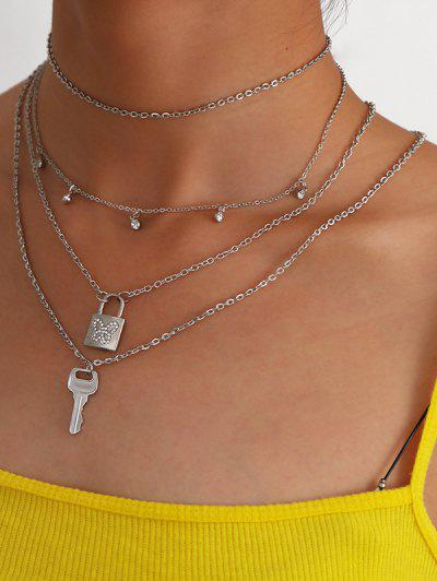 3Pcs Lock Key Butterfly Layers Necklace Set - Silver