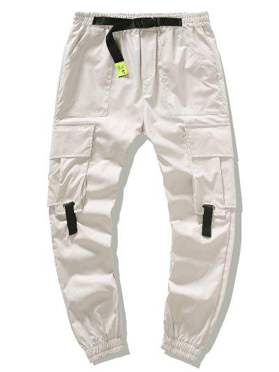 Buckle Waist Flap Pockets Leisure Cargo Pants - Beige L