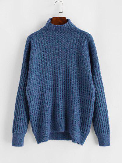 High Collar Drop Shoulder High Low Sweater - Blue