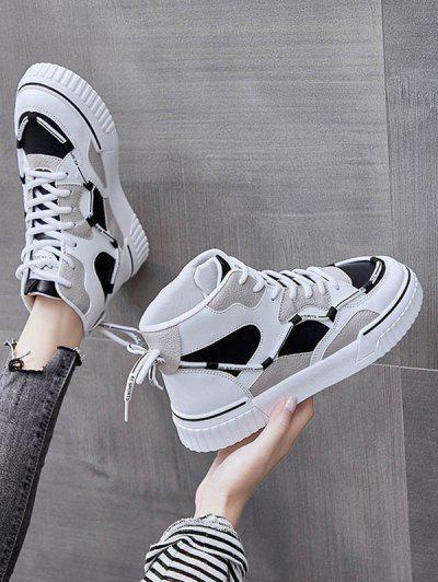 Colorblock High-top Lace Up Sneakers - Black Eu 39