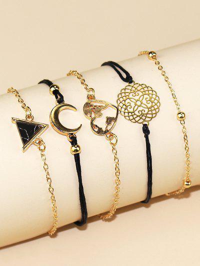Conjunto De Bracelete Oco De Coração E Lua Coração - Dourado